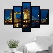 Quadro Mosaico 5 Partes Tower Bridge À Noite Com Moldura