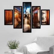 Quadro Mosaico 5 Partes Tradicional Rua do Japão