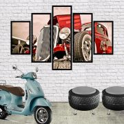 QUADRO MOSAICO 5 PARTES VINTAGE HOT ROD CAR