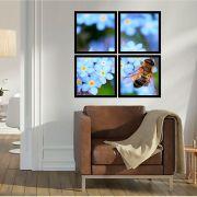Quadro Mosaico 72x72cm Abelha Flor Azul C/ Mold.