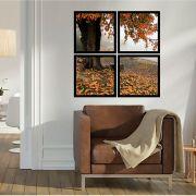 Quadro Mosaico 72x72cm Árvore Laranja No Outono C/ Mold.