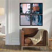 Quadro Mosaico 72x72cm Bicicleta Azul Com Cesta C/ Mold.