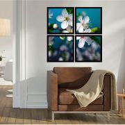 Quadro Mosaico 72x72cm Blossom Branca C/ Mold.