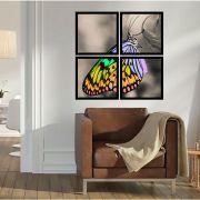 Quadro Mosaico 72x72cm Borboleta C/ Mold.