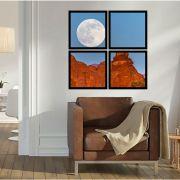 Quadro Mosaico 72x72cm Lua Na Montanha C/ Mold.