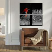 Quadro Mosaico 72x72cm Pássaro Vermelho E Preto C/ Mold.