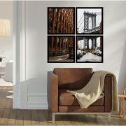 Quadro Mosaico 72x72cm Ponte Brooklyn C/ Mold.