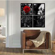 Quadro Mosaico 72x72cm Rosa Vermelha C/ Mold.