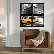 Quadro Mosaico 72x72cm Táxi Em NY Com Moldura