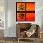 Quadro Mosaico 72x72cm Tree Sunset C/ Mold.