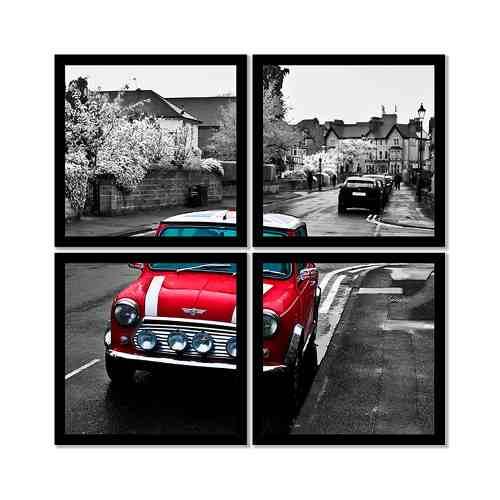 Quadro Mosaico 72x72cm Mini Cooper Vermelho C/ Mold.