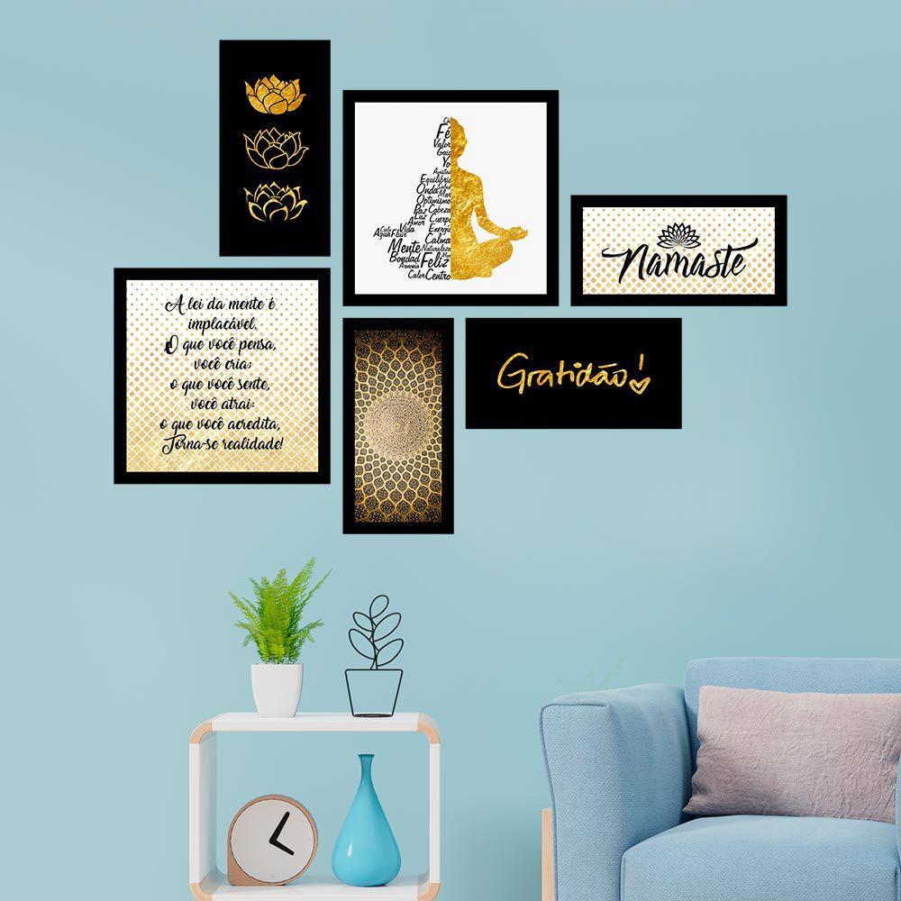 Conjunto Kit 6 Quadrado C/ Moldu Budismo Dourado