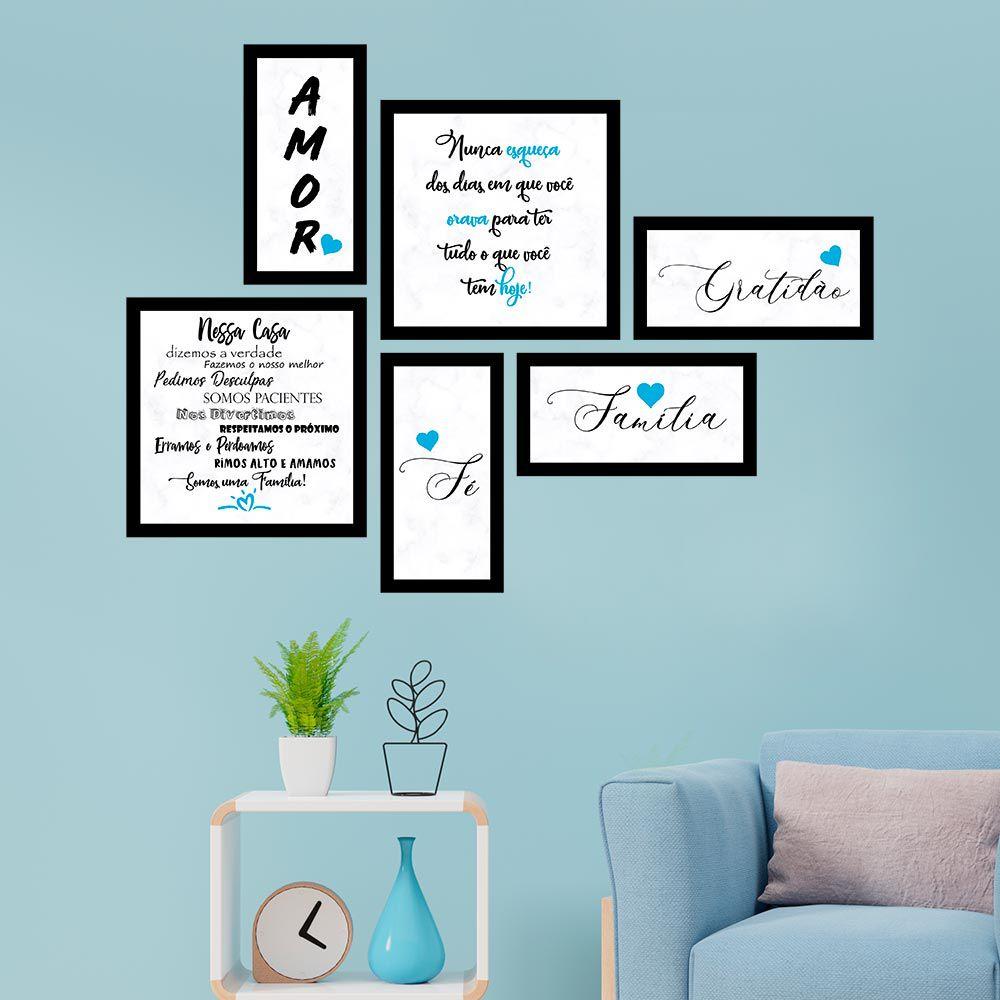 Conjunto Kit 6 Quadrado C/ Moldu Família Azul