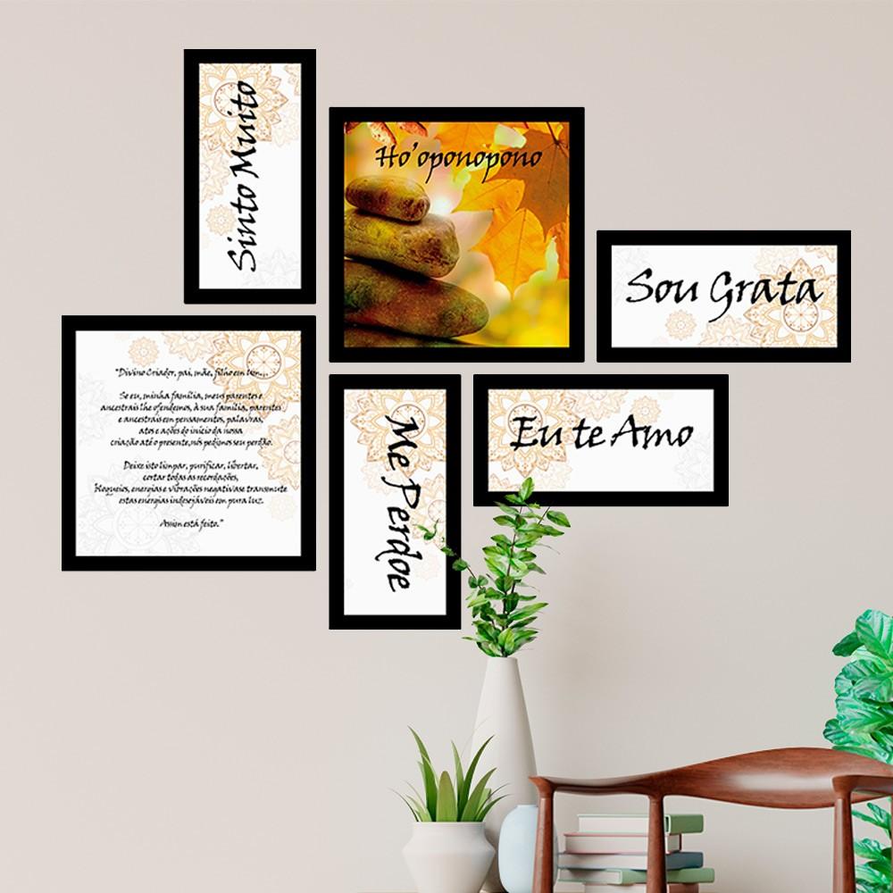 Conjunto Kit 6 Quadrado Decorativos A Reza Ho'oponopono