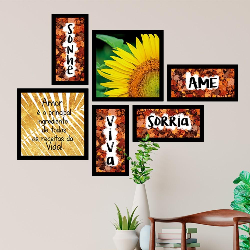 Conjunto Kit 6 Quadrado Decorativos Ame/sonhe/sorria/viva