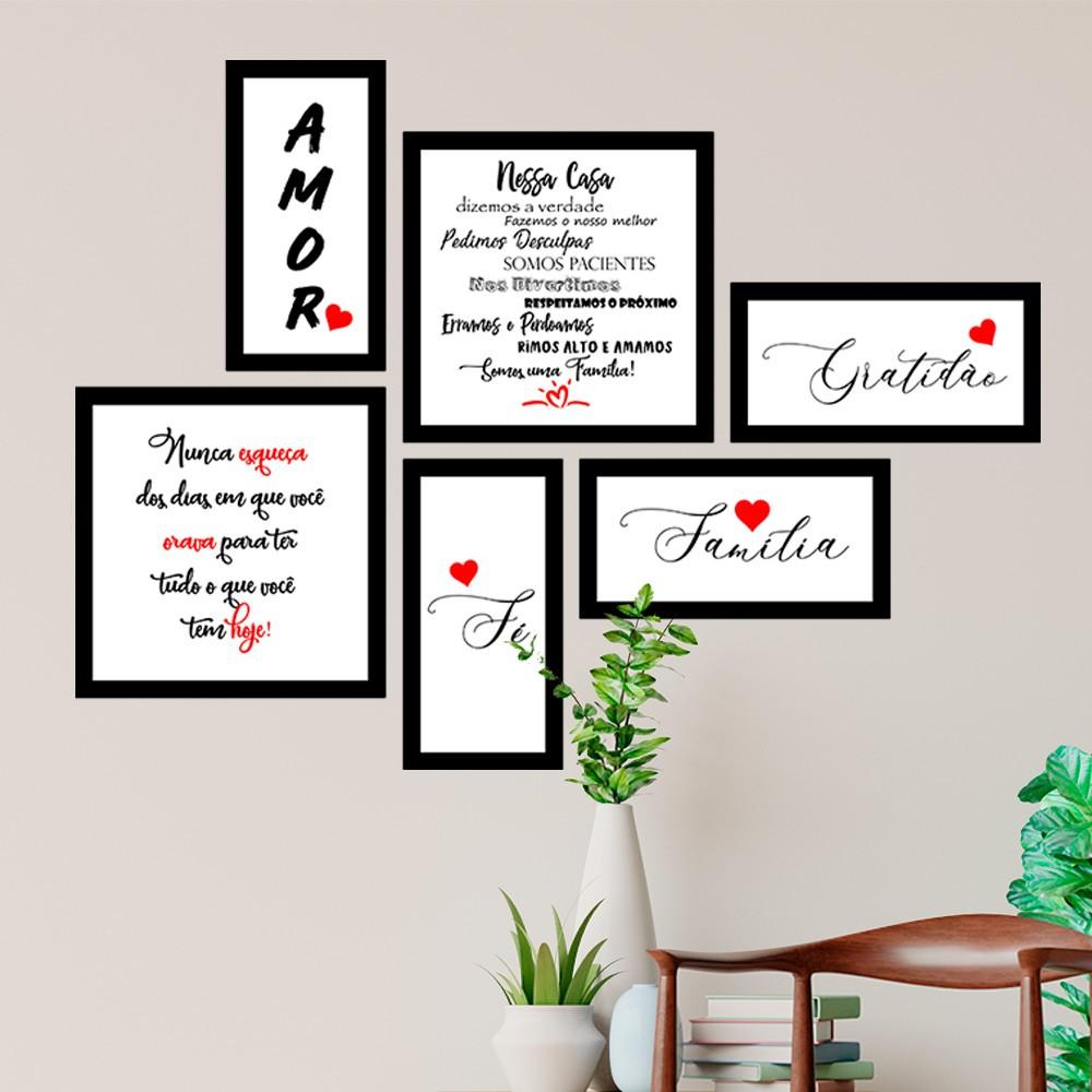 Conjunto Kit 6 Quadrado Decorativos Amor Família Gratidão