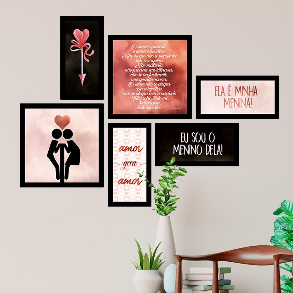 Conjunto Kit 6 Quadrado Decorativos Amor Gera Amor