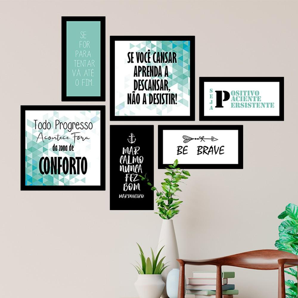 Conjunto Kit 6 Quadrado Decorativos Motivação Seja Positivo