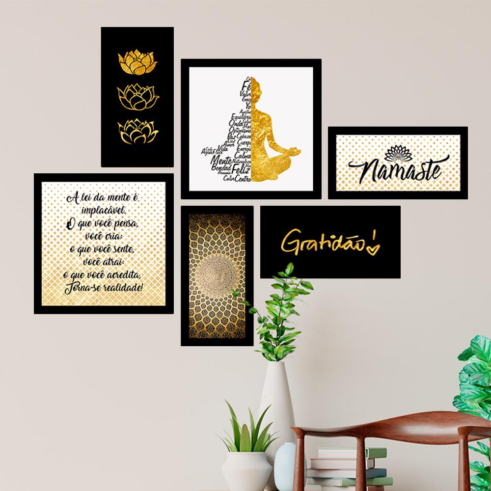 Conjunto Kit 6 Quadrado Decorativos Namaste