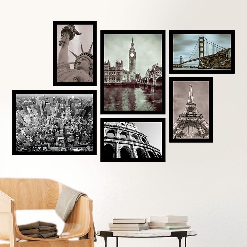 Conjunto Kit 6 Quadros C/ Moldura Coleção Cidades do Mundo