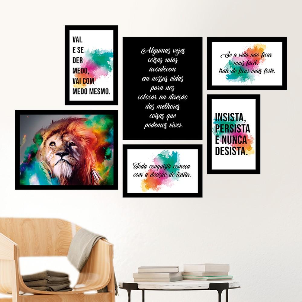 Conjunto Kit 6 Quadros C/ Moldura Motivação Leão Boreal