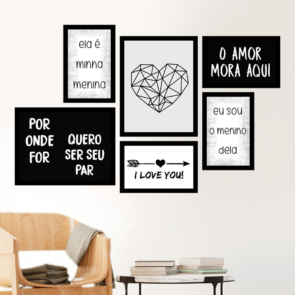 Conjunto Kit 6 Quadros C/ Moldura O Amor Mora Aqui