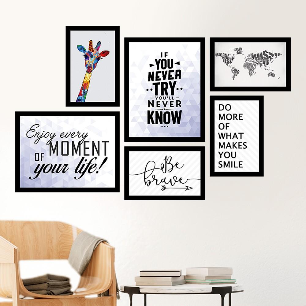 Conjunto Kit 6 Quadros Decorativos Be Brave