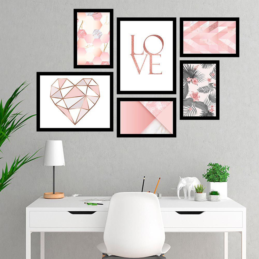 Conjunto Kit 6 Quadros Retangular Love Geométrico