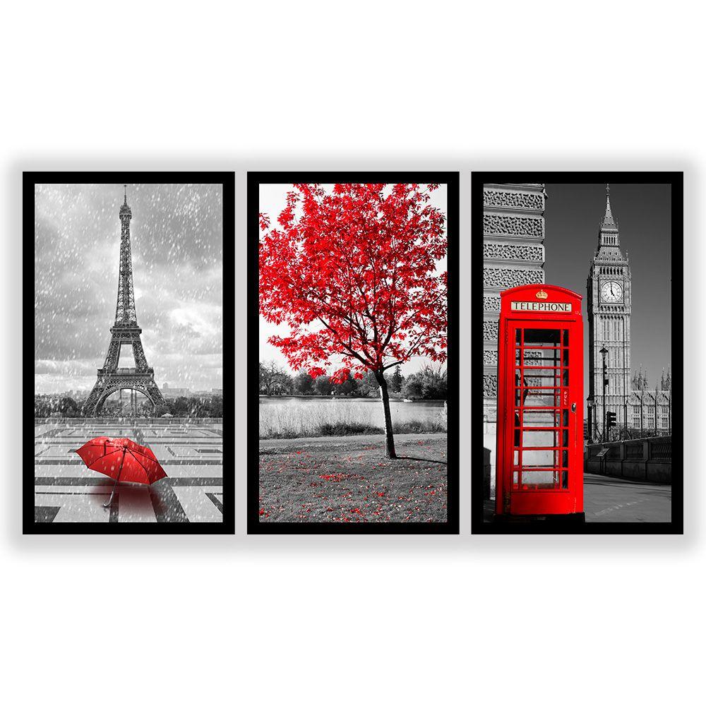 Kit  3 Quadros Decorativos Grandes Cidades Vermelho
