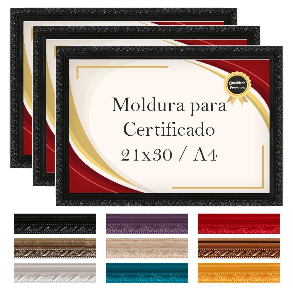 Kit 3 Molduras A4 para Certificado Madeira Laqueada Premium com Vidro-130