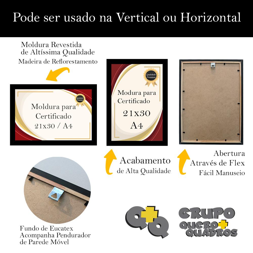 Kit 3 Molduras Porta Certificado Diploma Foto A4 21x30 com Vidro