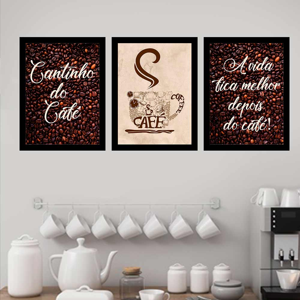 Kit 3 Quadros 33x43 C/ Mold Cantinho Do Café
