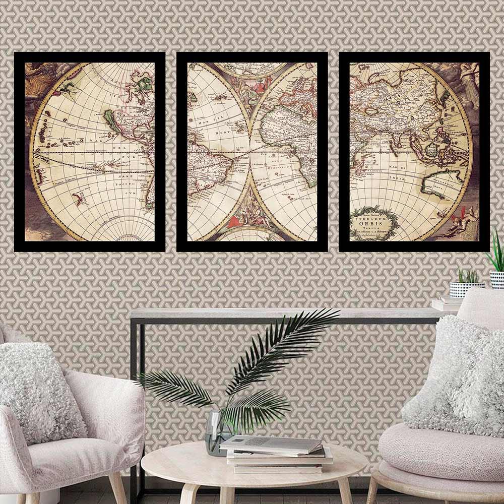 Kit 3 Quadros 33x43 C/ Mold Mapa Mundi Antigo