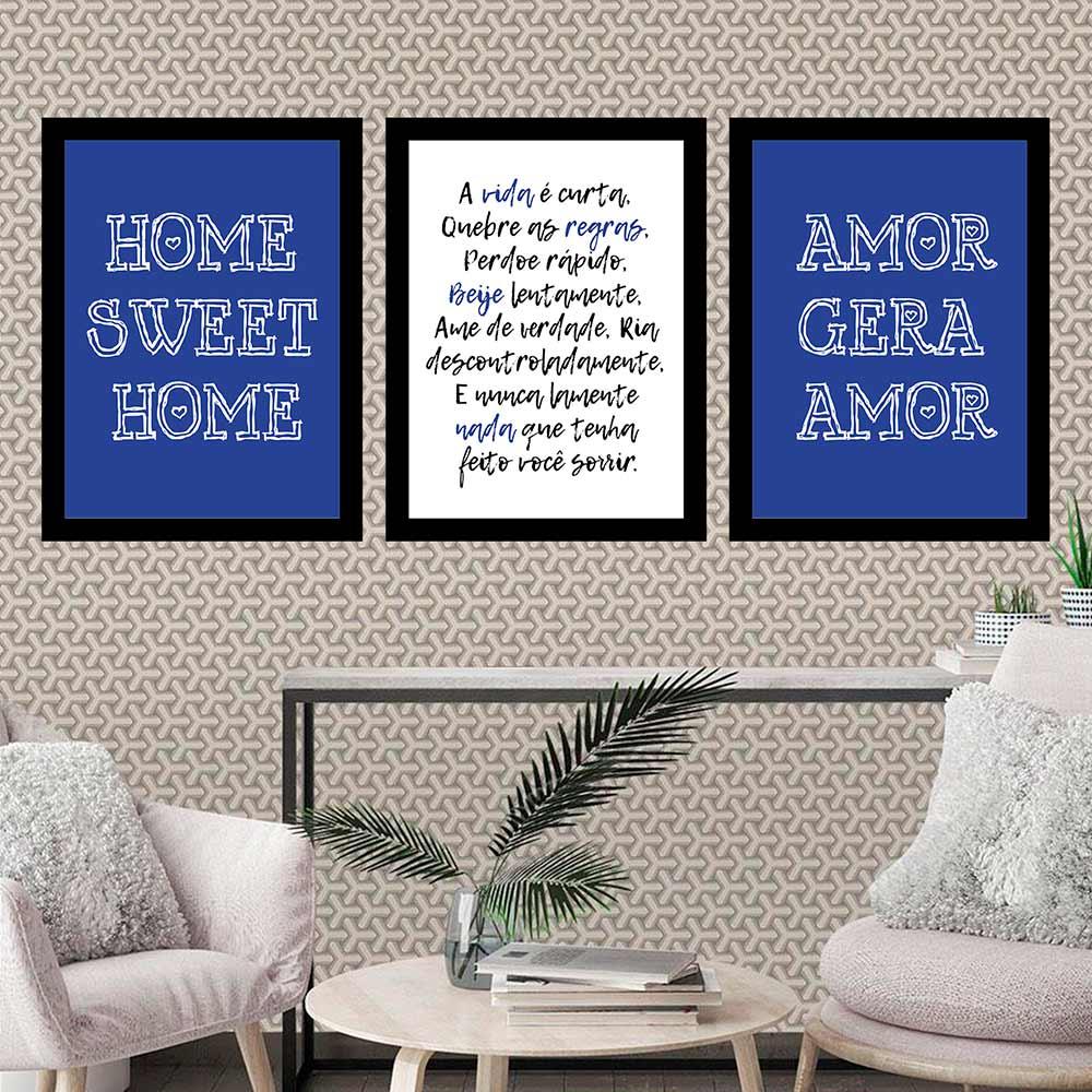 Kit 3 Quadros 33x43 C/ Moldura Amor Gera Amor