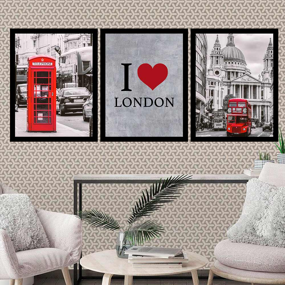 Kit 3 Quadros 33x43 C/ Moldura I Love London