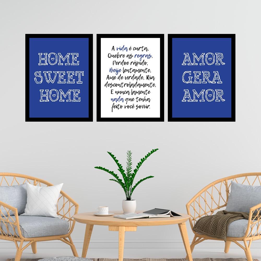 Kit 3 Quadros Decorativos 33x43 Amor Gera Amor