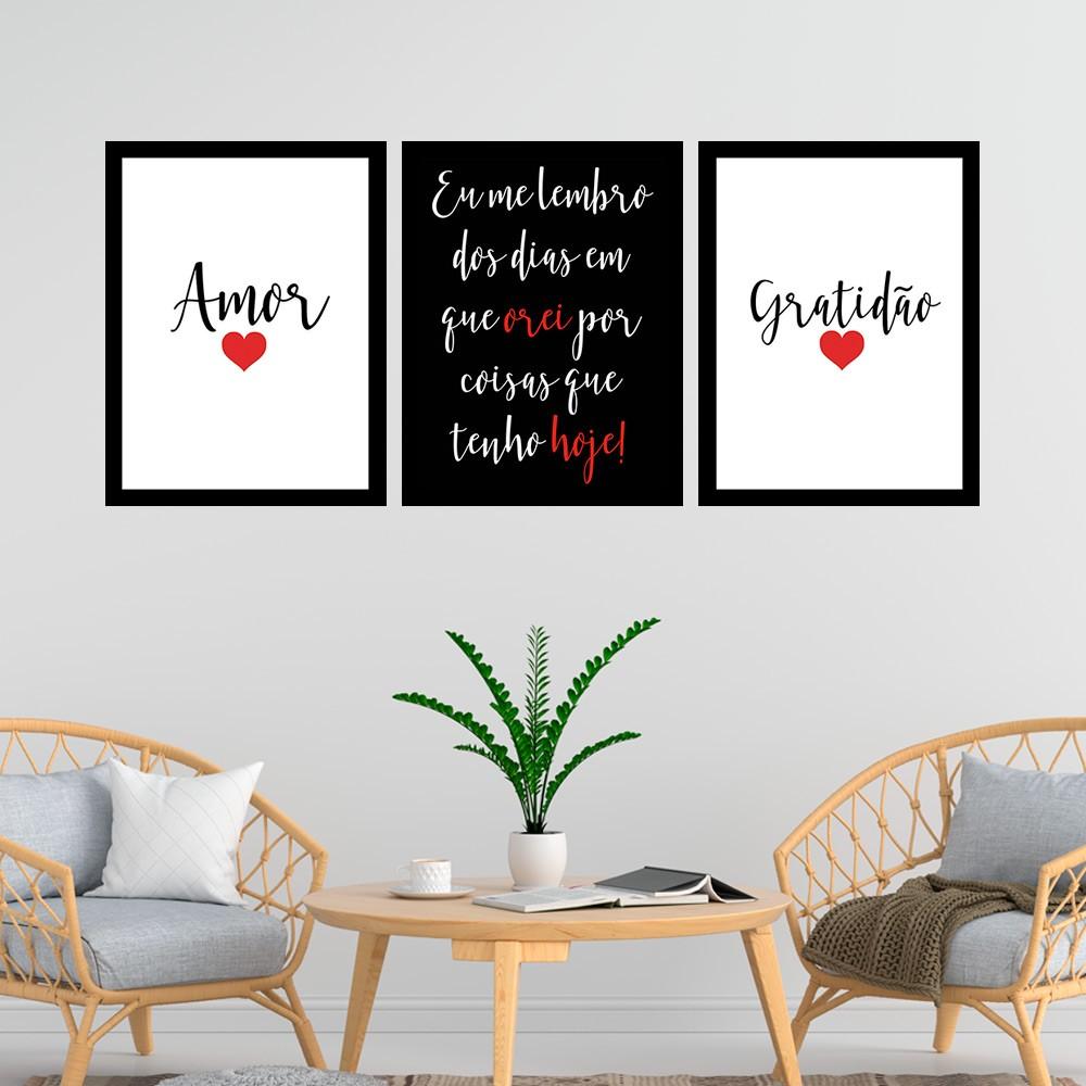 Kit 3 Quadros Decorativos 33x43  Amor/ Gratidão - Vermelho