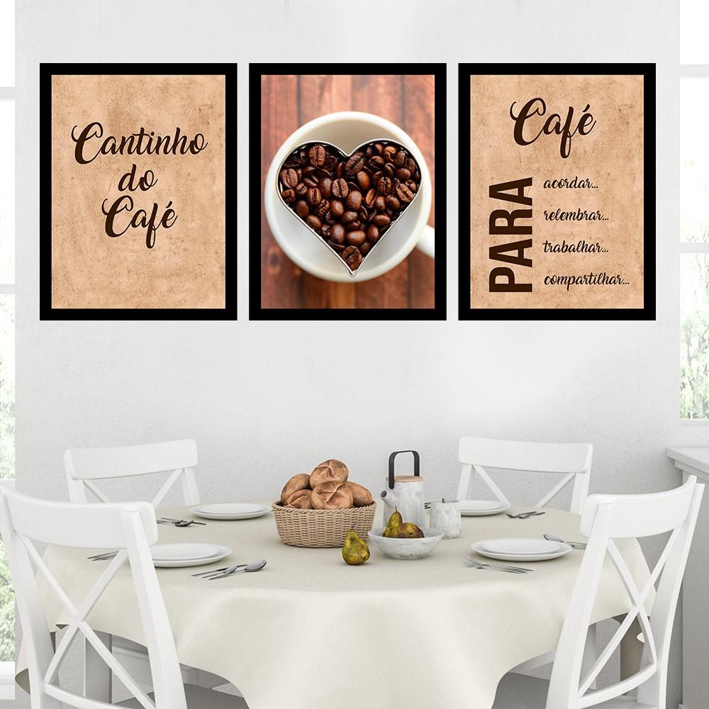 Kit 3 Quadros Decorativos 33x43 Café Para Acordar- Continho do Café
