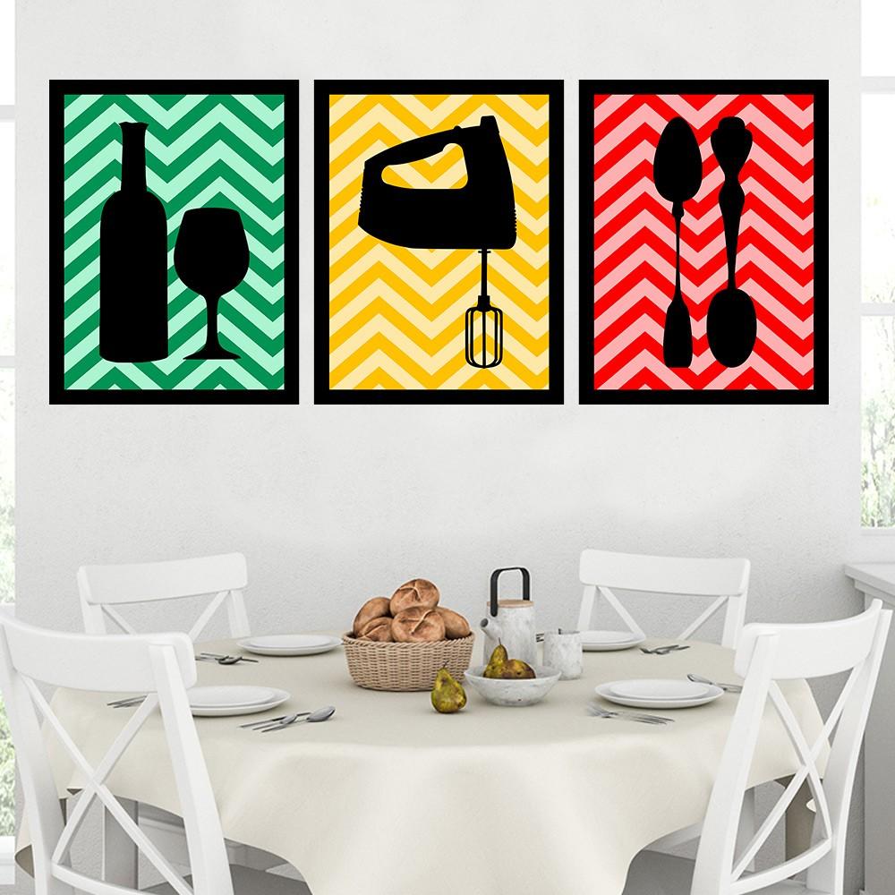 Kit 3 Quadros Decorativos 33x43 Cozinha Colorida