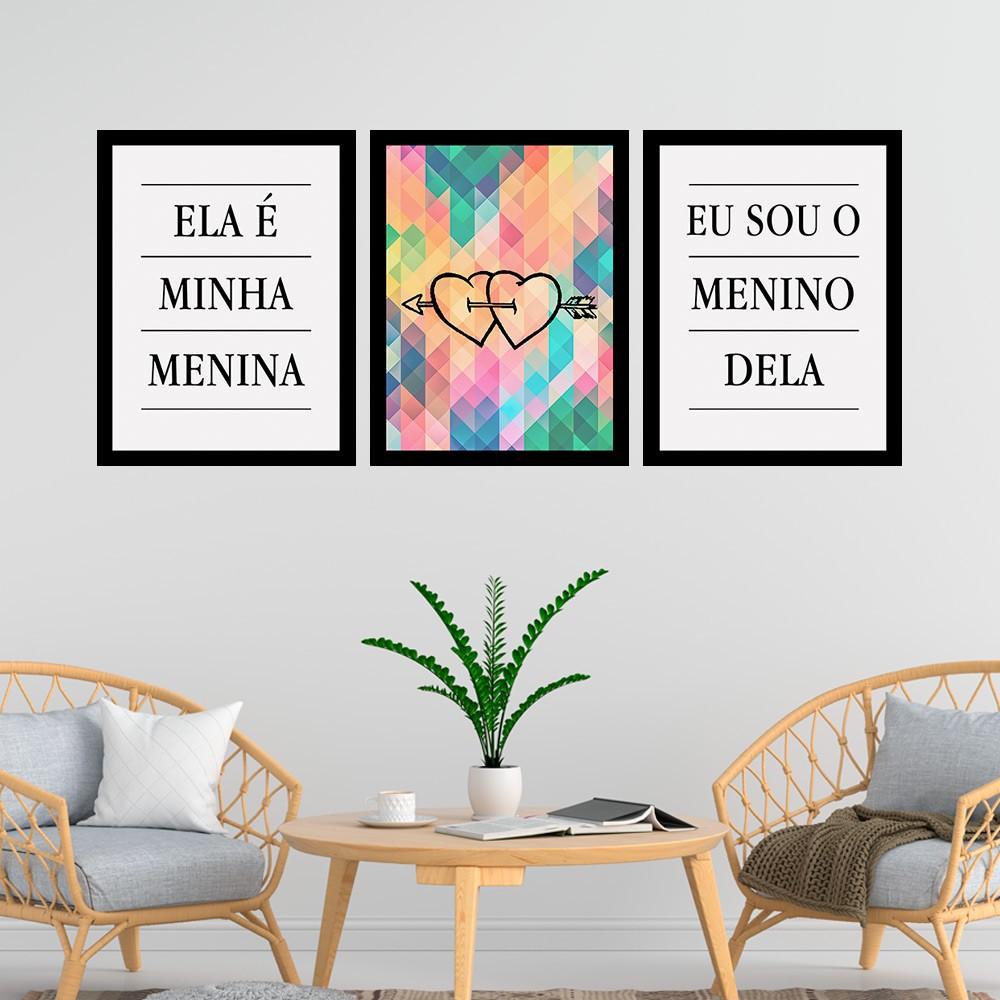 Kit 3 Quadros Decorativos  33x43 Ela É Minha Menina/Eu Sou O Menino Dela
