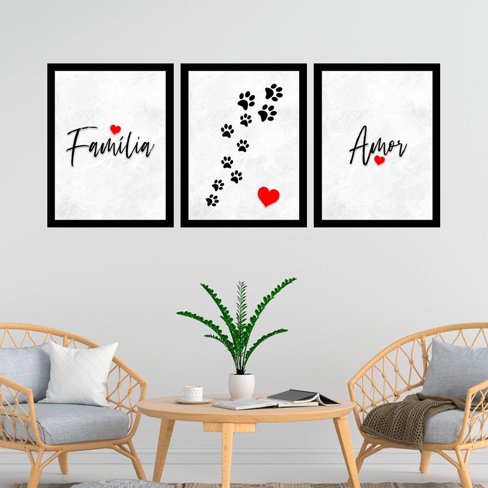 Kit 3 Quadros Decorativos  33x43 Família Amor - Pet