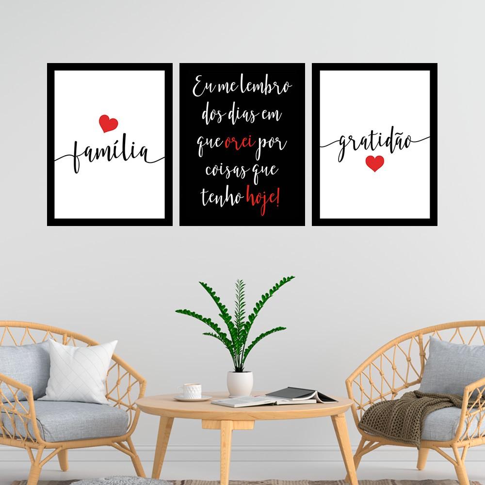 Kit 3 Quadros Decorativos 33x43 Família e Gratidão