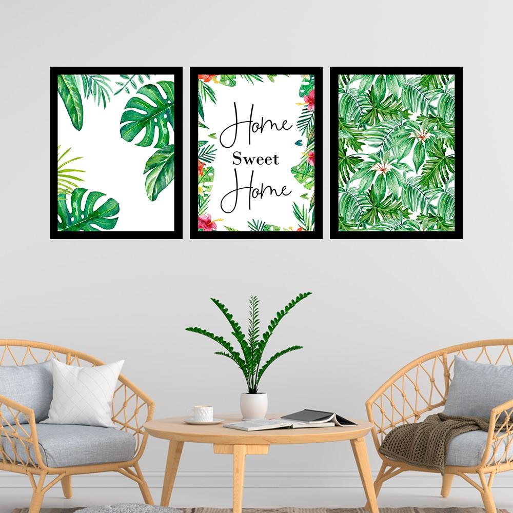 Kit 3 Quadros Decorativos 33x43 Home Sweet Home