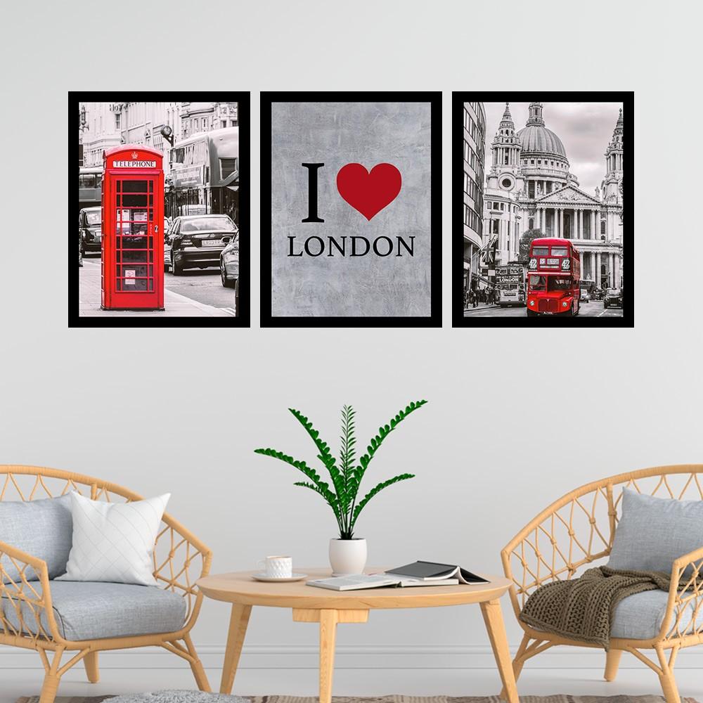 Kit 3 Quadros Decorativos 33x43  I Love London