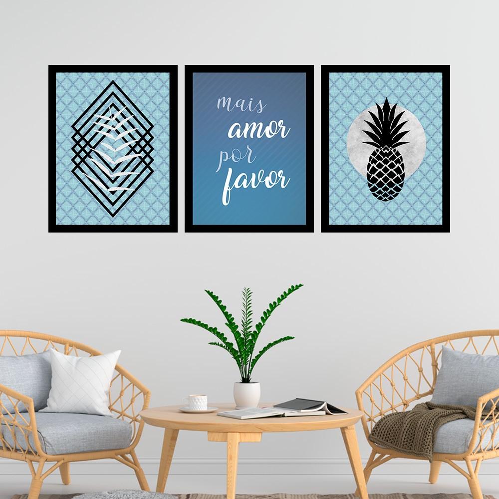 Kit 3 Quadros Decorativos 33x43 Mais Amor Por Favor
