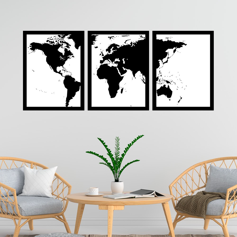 Kit 3 Quadros Decorativos 33x43  Mapa Mundi Preto E Branco