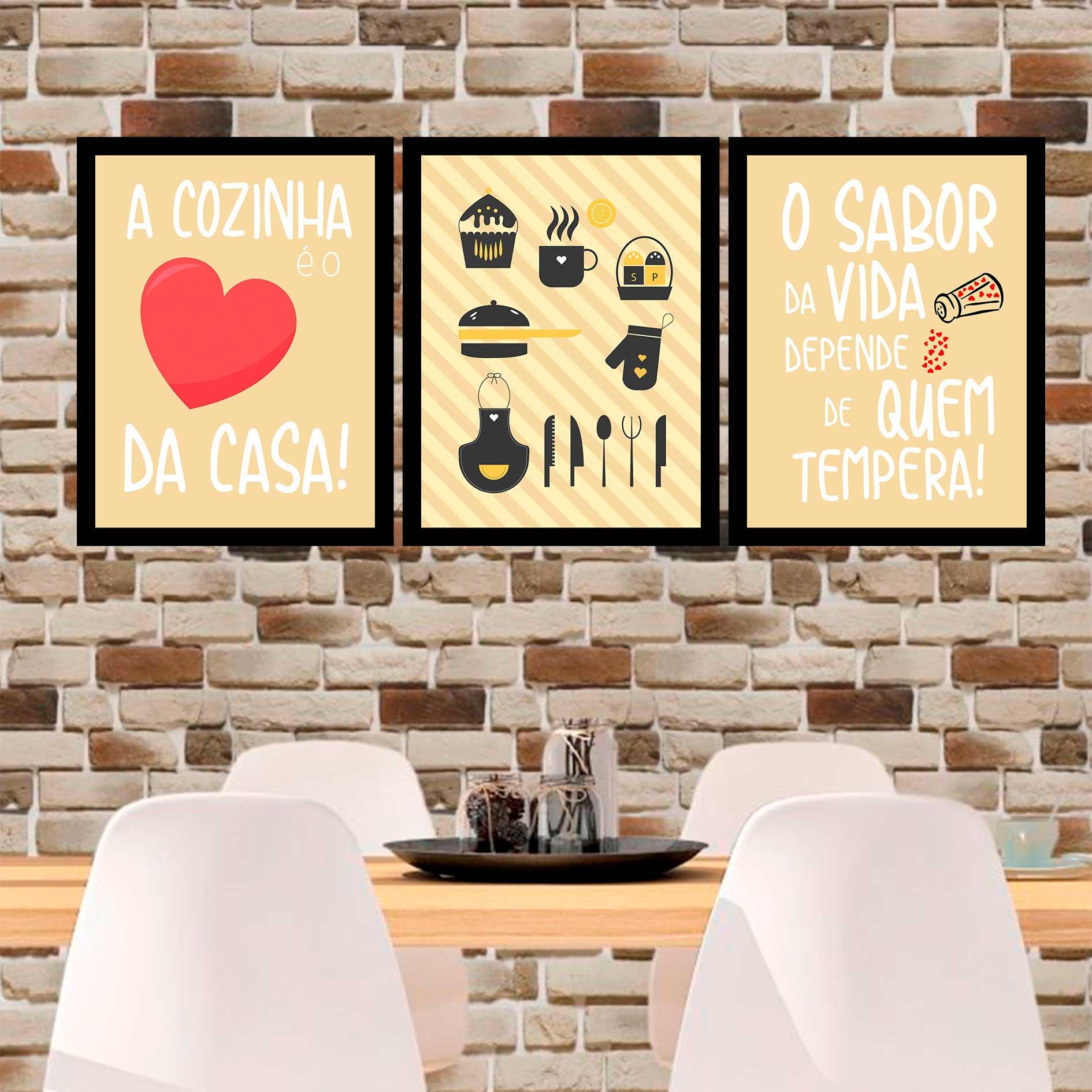 Kit 3 Quadros Decorativos A Cozinha É O Coração Da Casa