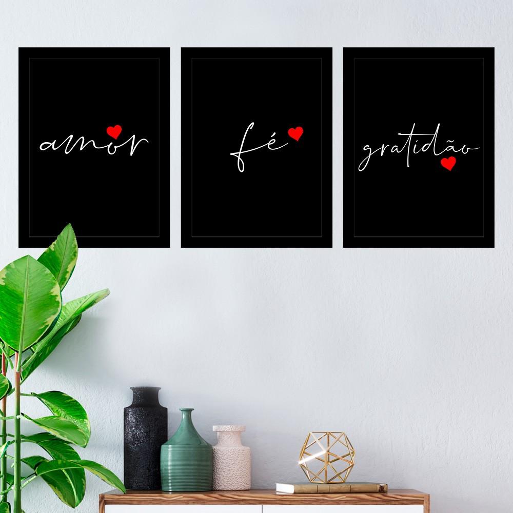 Kit 3 Quadros Decorativos Amor/ Fé/ Gratidão