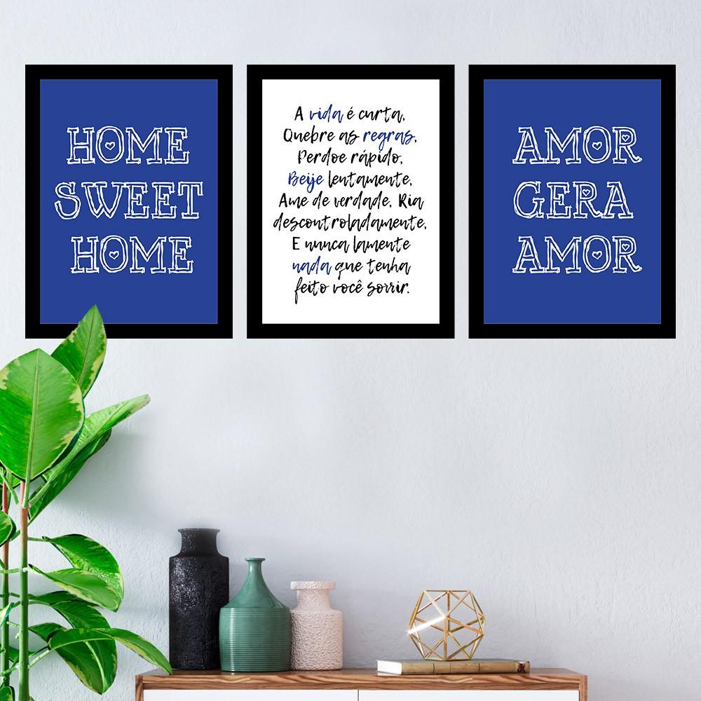 Kit 3 Quadros Decorativos Amor Gera Amor