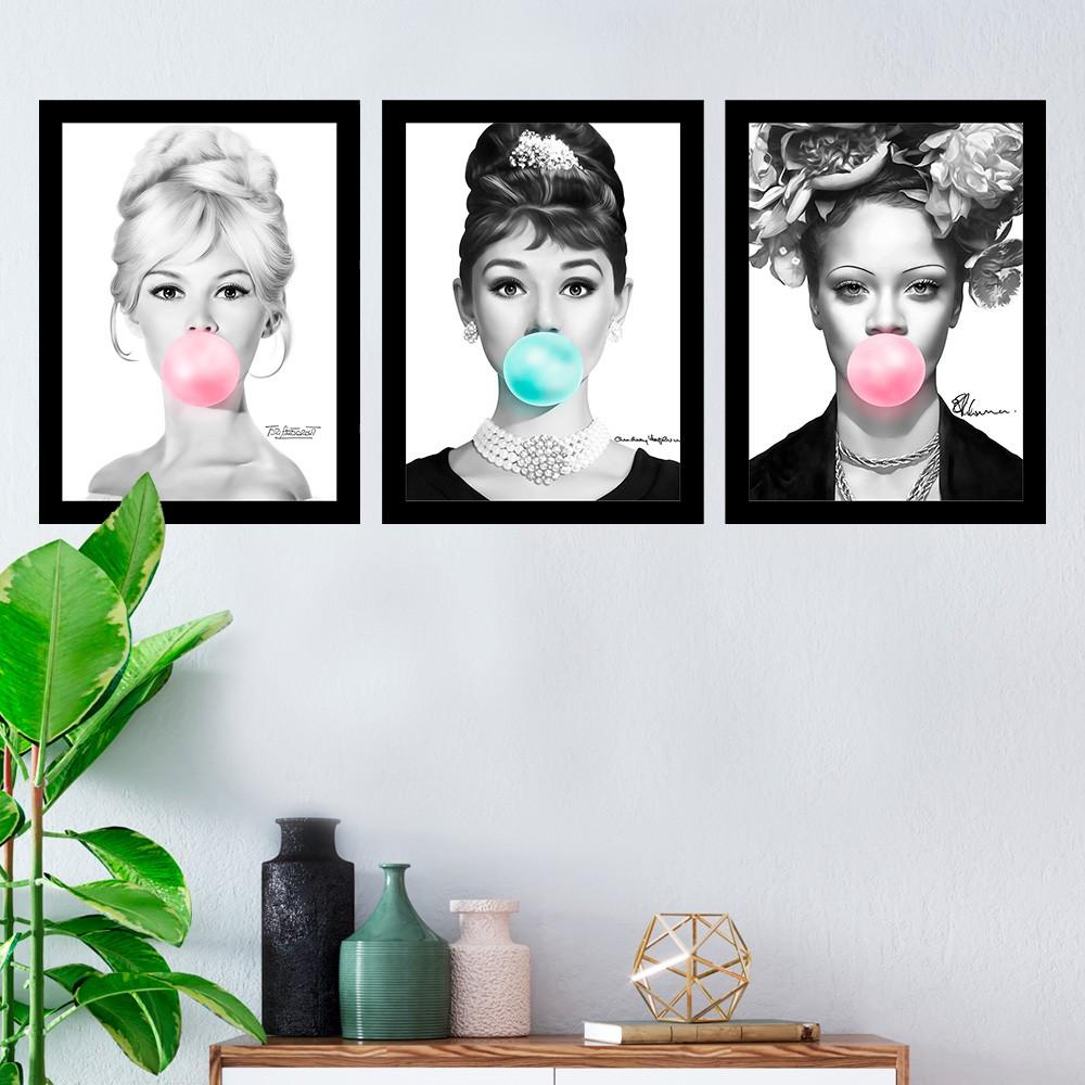 Kit 3 Quadros Decorativos Brigitte Bardot-Audrey Hepburn-Rihanna